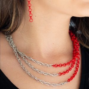 Paparazzi silver and red necklace